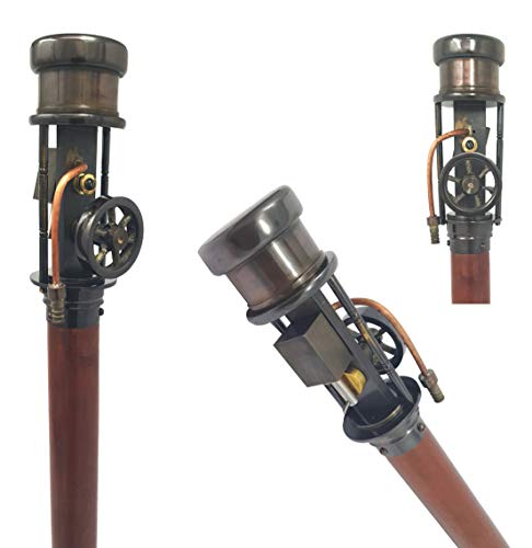 Vintage Retro Style Steam Engine Model Wooden Walking Cane Stick Brass Stave
