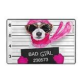 kThrones Alfombra de baño Alfombra,arresto Criminal Diva Lady Girl Dog Posing Lovely Broken Sports Recreation Board Ladrón Canino Design Alfombra de baño 75cmx45cm