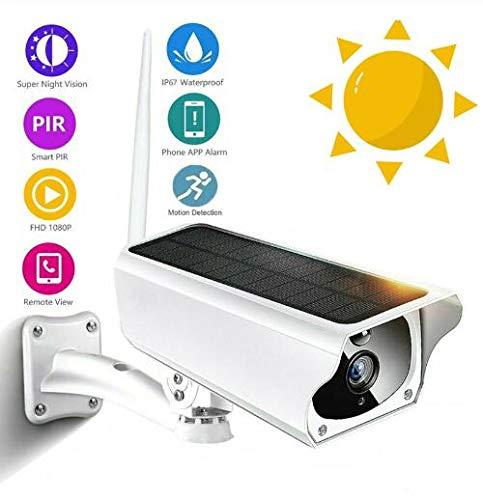 Outdoor bewakingscamera zonne draadloze HD 1080P waterdichte IP-camera WiFi met infrarood nachtzicht, alarm en PIR bewegingsdetectie-functie