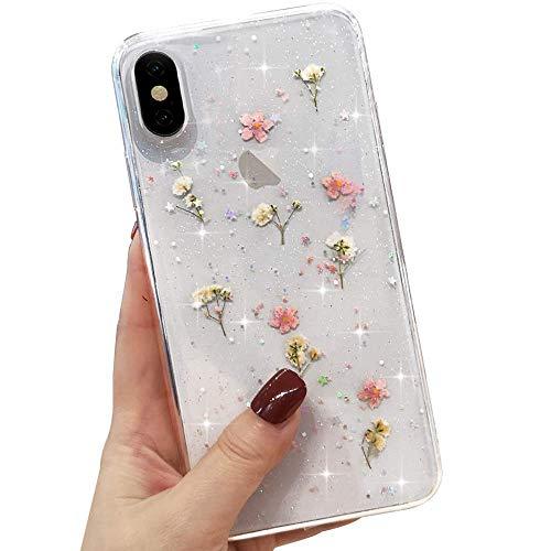 L-FADNUT Getrocknete Blume Handyhülle für iPhone X/Xs Funkeln Glitzer Hülle Mädchen Silikon Stoßfest Klar Blume Blumen Niedliche gepresste Blumen Hülle für iPhone X/Xs - Rosa