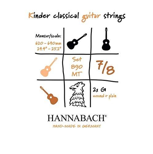 Hannabach 653099 Set Corde per Chitarra Classica Serie 890MT, 7/8 Chitarra per Bambino, Misura, 62-64 cm