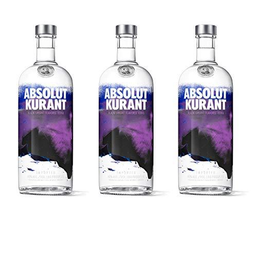 Absolut Vodka Kurant 3er Set, Wodka mit schwedischer Johannisbeere, Spirituose, Alkohol, Flasche, 40%, 3x1 L