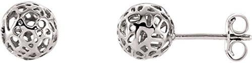 14K White Gold Ball Earrings Pierced-Style Ball Earrings