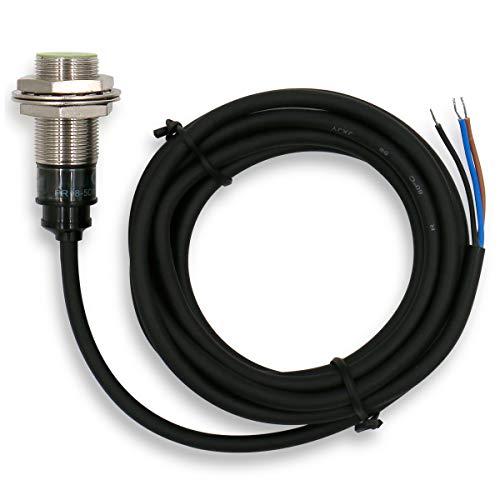 Heschen Sensor de proximidad inductivo PR18-5DP tipo cilíndrico, detección de 5 mm, M18 redondo, 12-24 VDC 3 cables, blindado, PNP, NO (normalmente abierto) CE