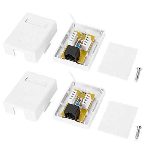 Oumefar Caja de Redes de categoría 6 Caja de información de Escritorio RJ45-8P8C Caja de Conexiones de Red Caja de Montaje en Superficie Caja de Conexiones RJ45 para Cable 22-24AWG