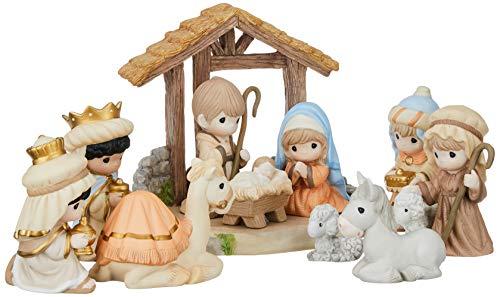 """Precious Moments"""" O Come Let Us Adore Him Nativity Figurine with Creche (Set of 11), Multicolor"""