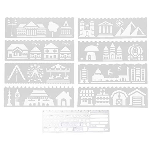 kowaku 9Set Ruler Bookmark Journal Drawing Template for Making Diary Decors