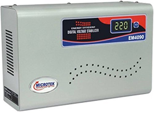 Microtek EM4090 Automatic Voltage Stabilizer for AC up to 1.5 ton (90V-300V), Metallic Grey – Digital Display, Wall Mounted