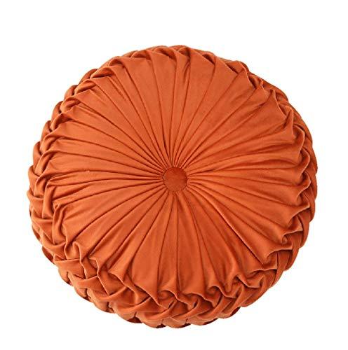 Oreiller Rond De Jet, Solid Color Velvet Citrouille De Divan Chaise Coussin Maison Décorative pour Canapé-lit Coussin De Taille De Coussin De Voiture De Voiture-Orange 38x38cm(15x15inch)
