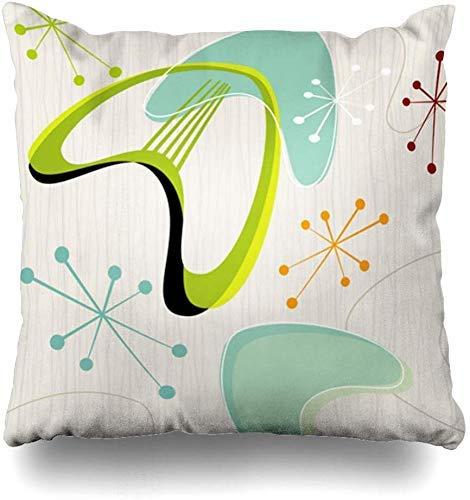Mesllings Kussenhoezen Vierkant Blauw Retro Geïnspireerd Moonlight Design Boomerang Modern Vintage Huisdecoratie Kussensloop Kussensloop, 45X45Cm