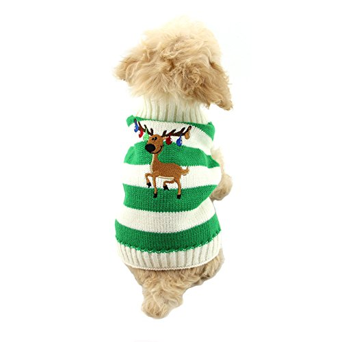 NACOCO Dog Sweater Pet Christmas Elk Bells Sweaters Halloween Reindeer for Small Dog and Cat (M, Green)