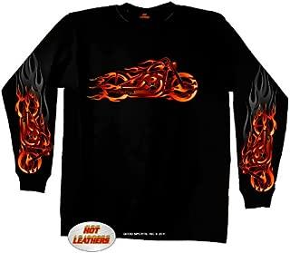 Hot Leathers Fire Bobber Long Sleeve T-Shirt (Black, X-Large)