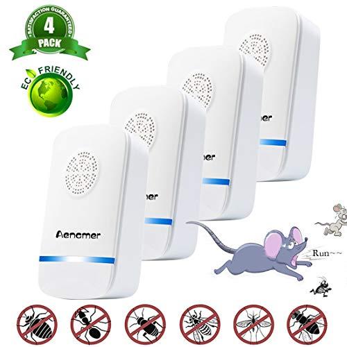 Aenamer Ultraschall Schädlingsbekämpfer, 4 Stück Elektronische Insektenschutzmittel & Innenräumen Pest Repeller für Kakerlaken, Mäuse, Mücken, Spinnen,100% harmlos für Haustiere und Menschen