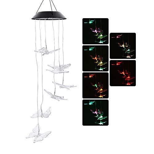 Carillon à vent solaire LED à changement de couleur pour extérieur décoratif romantique à suspendre