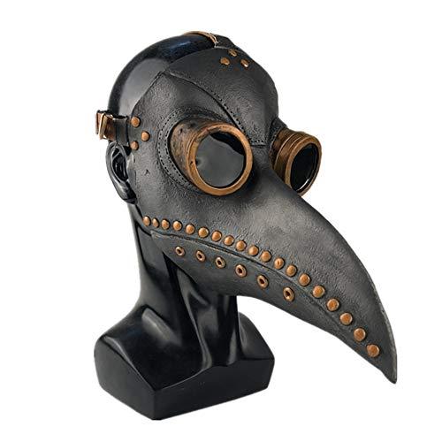 Medieval Peste Doctor Máscaras de Pájaro Plague Doctor Disfraz de Halloween Cosplay Steampunk Retro Heavy Metal Rock Scary Mask Pico para Costume Fiesta (C, Talla Única)
