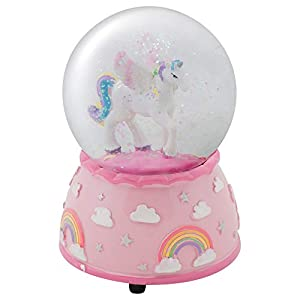 Elanze Designs Unicorn Rainbows on Pink Musical 80MM Water Globe Plays Tune The Unicorn