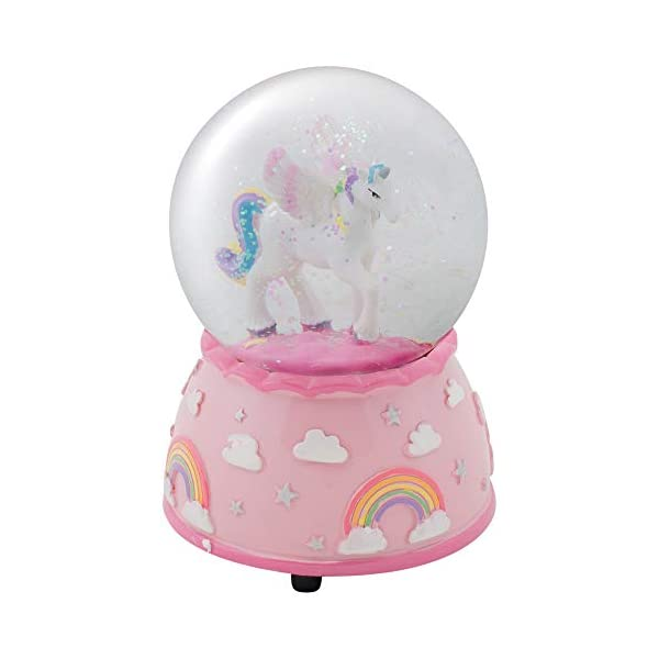Elanze Designs Unicorn Rainbows on Pink Musical 80MM Water Globe Plays Tune The Unicorn 3