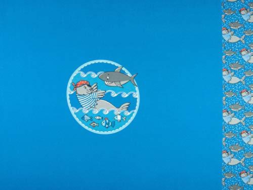 Swafing Steinbeck Maritimer Baumwolljersey Hai und Seelöwe Panel 49cm