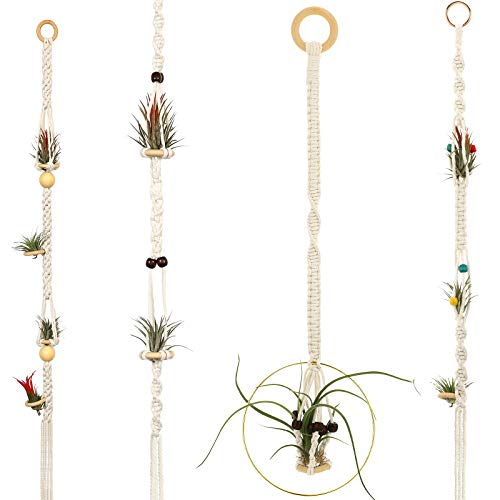4 Pieces Hanging Air Plant Holders Tassel Plant Hanger Fabric Woven Hanging Plant Holder Decorative Air Plant Hanger with 4 Pieces Hooks for Home Plant Decoration (Beige)