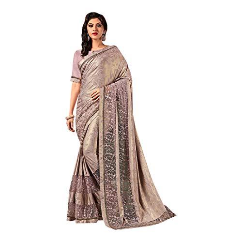 Pinkkart Grijs Bollywood Geïmporteerde Stof en Net Ontwerper Saree Sari Blouse Indian Vrouwen Jurk Feestelijke 8421