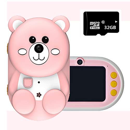 ROCK1ON Kinderkamera Kaninchen Digitale Kamera für Kinder 32 Megapixel HD 1080P 2.4-Zoll Nachtaufnahme-Funktion Videokamera mit 32GB TF-Karte Silikonhülle Weihnachten Geschenk Spielzeug,C
