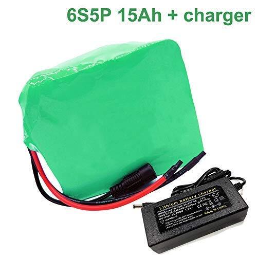 Seilylanka 24V 15Ah Li-ion Akku Pack E-Bike Elektrorad 6S5P Mit Ladegerät Batterie
