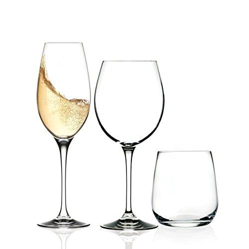 Rcr Invino servizio bicchieri 12 pezzi per 4 persone composto da 4 bicchieri acqua, 4 calice vino, 4 calice spumante