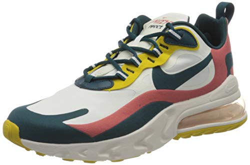 Nike Air MAX 270 React, Zapatillas para Correr para Hombre, Summit White/Midnight turq-Pueblo Red, 44 EU