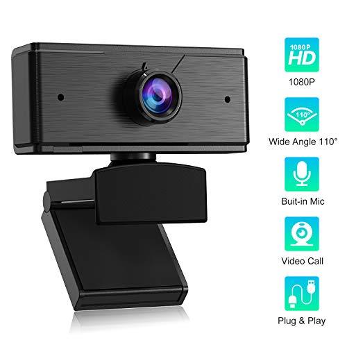 POMILE Cámara Web HD 1080P con micrófono, cámara Web con ángulo de visión Amplio de 110 Grados, cámara Web USB para PC para videoconferencia Grabación de conferencias (S1, Negro)