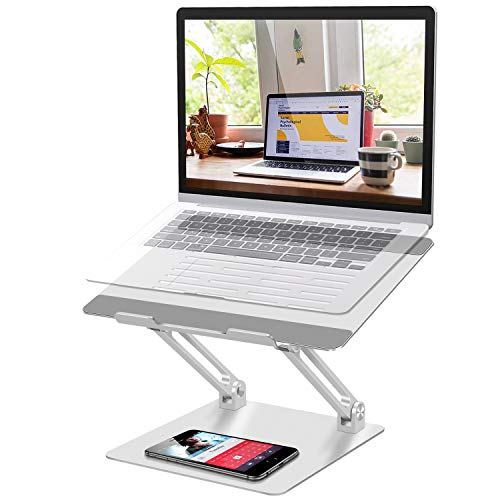Lmlly Laptop Stand - Adjustable Laptop Riser with Slide-Proof Silicone, Laptop Holder with Heat-Vent, Aluminum Notebook Stand for MacBook Pro/Air, Dell, HP, Lenovo, More 10-17' Laptops