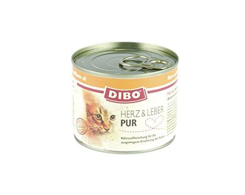DIBO CAT HERZ & LEBER, 200g-Dose aus ausgesuchtem Fleisch hergestellt und mit Löwenzahn und Distelöl verfeinert