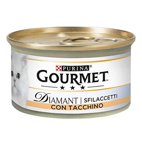PURINA GOURMET DIAMANT Húmedo Gato Sfilaccetti con Pavo con Sabor - 24 latas de 85 g Cada Paquete de 24 x 85 g