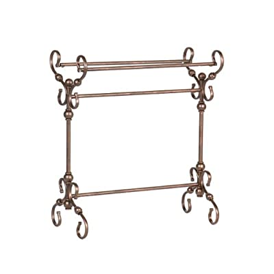 Lourdes Blanket Rack - Metal Scroll Work w/ Antique Bronze Finish - Traditional Style