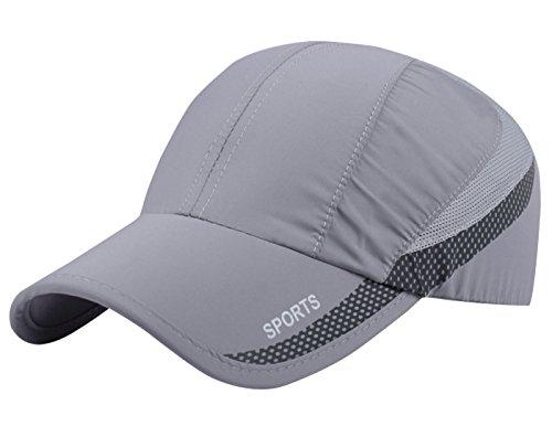 AIEOE Atmungsaktive Kappe Snapback Cap Schnelltrocknend Cap Dünn und Weich Sport Caps Outdoor Sonnen-Kappe für Wandern, Bergsteigen, Joggen, Radfahren usw - Hellgrau