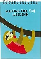 Pavilion - Waiting For The Weekend - 7インチ ユーモラスなナマケモノ 100ページ ハードバックノートパッド
