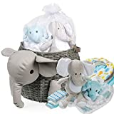 Baby Shower Gifts - New Baby Newborn Essential Gift Basket, Beautiful Elephant Theme Gift Wrapped for a boy or Girl, All in One Registry Essential Stuff for Boys or Girls, Includes Card Perfect Set