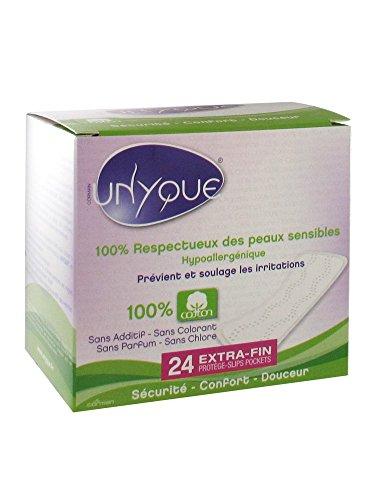UNYQUE Protege Slips Diarios de Algodon Puro 100% con Bolsa – Previene y Reduce Irritaciones - Salvaslips Hipoalergénicos Suaves Ultrafinos – Apto Pieles Sensibles - 24 Unidades