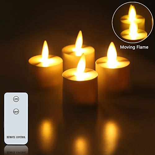 LED-Kerzen, echtes Wachs, flammenlose Kerzen, bewegliche Flamme, batteriebetrieben, mit Fernbedienung, Wachs, Teelichter (H x T): 3,6 x 3,6 cm., Tea Light 4Pack