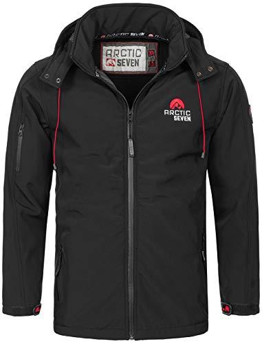 Arctic Seven Herren Designer Softshell Funktions Outdoor Regen Jacke Sport AS087 [AS-087-Schwarz-Gr.4XL]