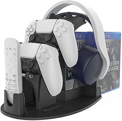 AKNES Game Controller Mount Stand Bracket for PS5 / PS4 / XBOX SERIES X / XBOX ONE /NINTENDO SWITCH/ STEAM PC /Headset, Plastic headset holder Universal Gamepad Gaming Controller Accessories-Black