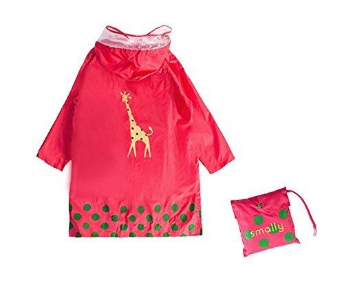 GIM Bambini Pioggia Cappotto Unisex Impermeabile Coprizaino Poncho Giacca Protezione con cappuccio per Ragazze & Ragazzi 3 – 12 anni (Rosa,L)