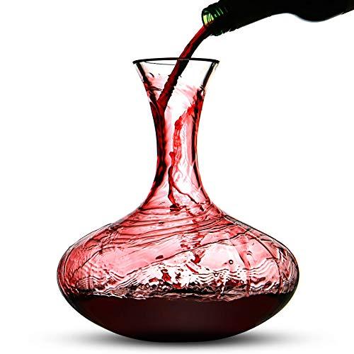 Maison & White Carafe à vin rouge de 2,5 L | Bouchon de chêne et boules de nettoyage inclus | Carafe à vin aérée en verre sans plomb | M&W