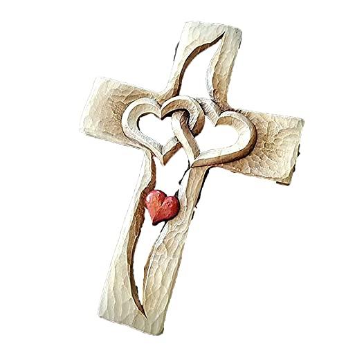 Amugo Gesneden houten kruis-verweven hart, houten liefdeskruis, handgesneden antiek ontwerp houten kruis muur opknoping, huis woonkamer, vakantie decoratie (stijl1)