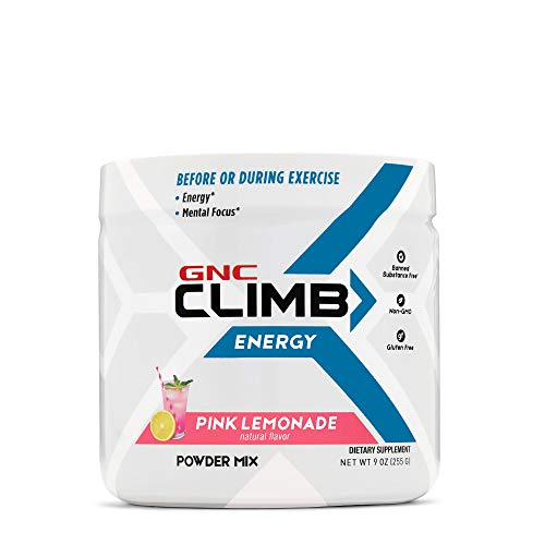 GNC Climb Energy Powder Mix - Pink Lemonade, 30 Servings, Supports Energy and Mental Focus During Workouts