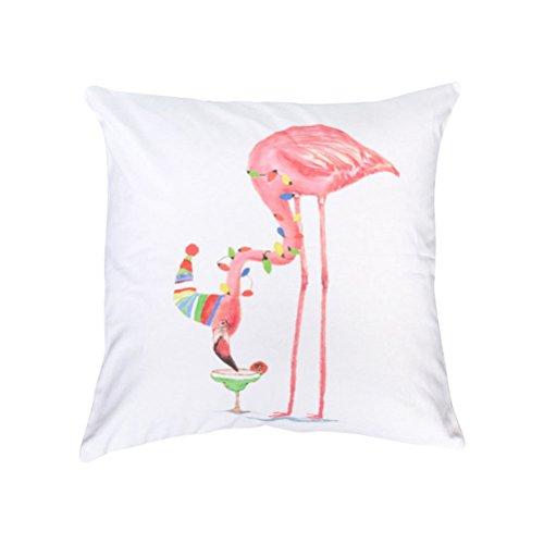Tinksky Housse d'oreiller Flamingo Throw, Housse de coussin carrée Housse d'oreiller pour un canapé extérieur Salon de voiture Chambre pour enfants Cuisine Moquette 4