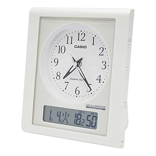 CASIO(カシオ) 目覚まし時計 電波 ホワイト アナログ 常時点灯 温度 湿度 カレンダー 表示 TQT-351NJ-7BJF