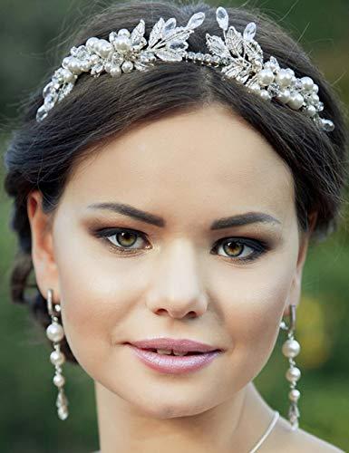 BERYUAN - Tiara dorada para mujer, diseño de hojas de perla, accesorio para el pelo, accesorio para el pelo, pieza de cristal de estrás, regalo para su fiesta de novia (juego de oro rosado)