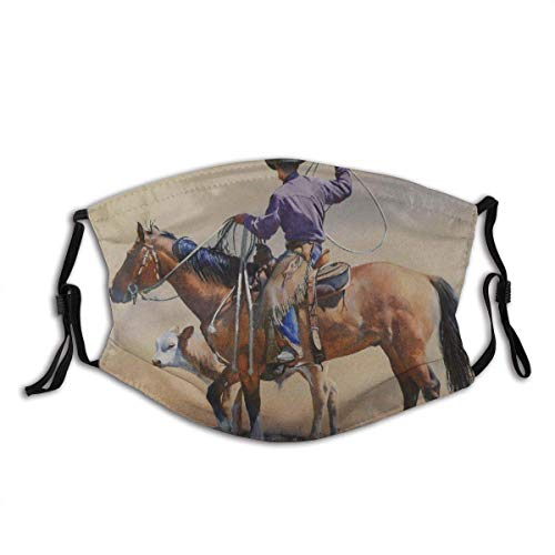 Western Cowboy Riding Towards Sunset in Wild West Rodeo Western Bucking Bronco Horse() Warm Face Protection