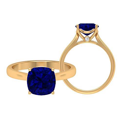 Anillo de zafiro azul creado por laboratorio, moissanita redonda de 2,53 quilates, anillo de corte de cojín solitario de 8,50 mm, anillo de compromiso de oro catedral, 18K Oro amarillo, Size:EU 56