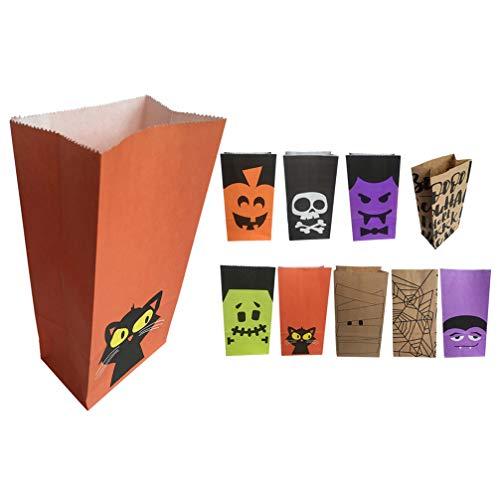 VORCOOL 36 Unidades de Bolsas de Dulces de Papel de Halloween Bolsas de Regalo de Regalo para Regalo Bolsas Planas Portátiles para Regalos Celebración de Fiestas Multiusos